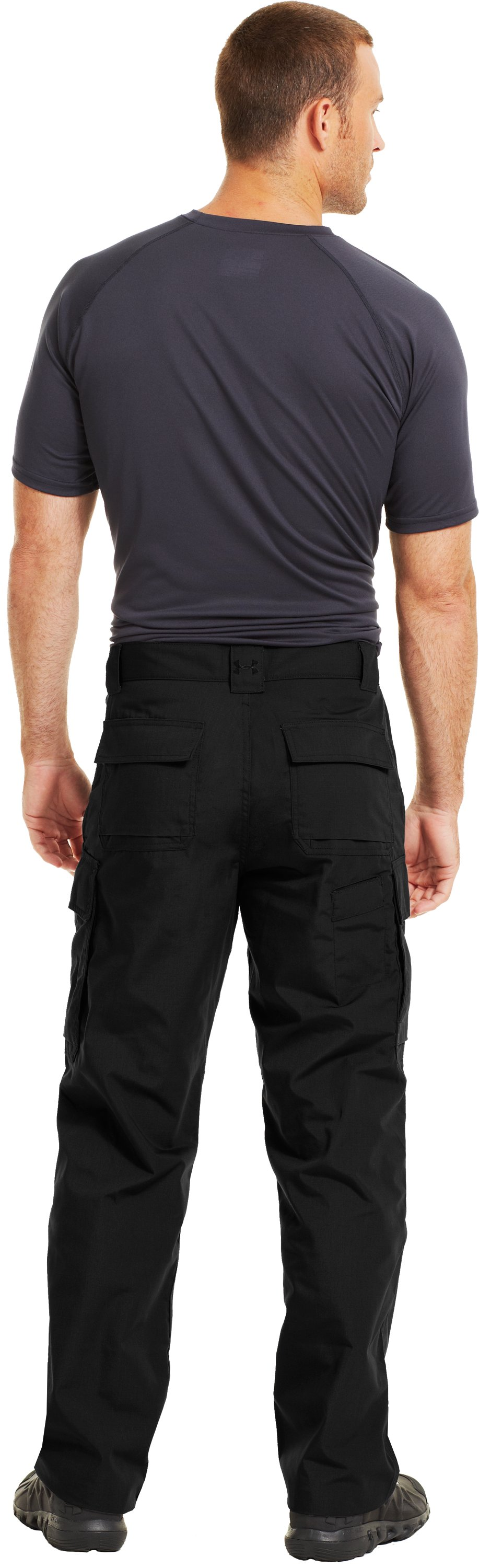 Men's UA Tactical Pants, Black , Back