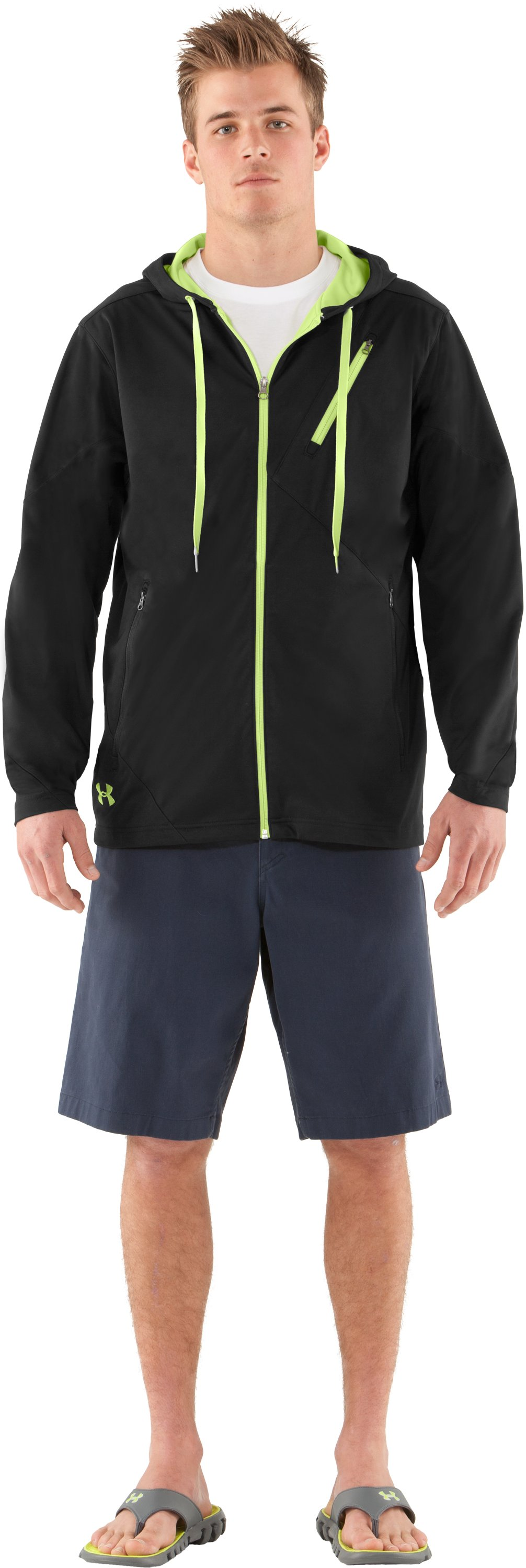 Men's UA Winokee Storm Windproof Hoodie, Black , Front