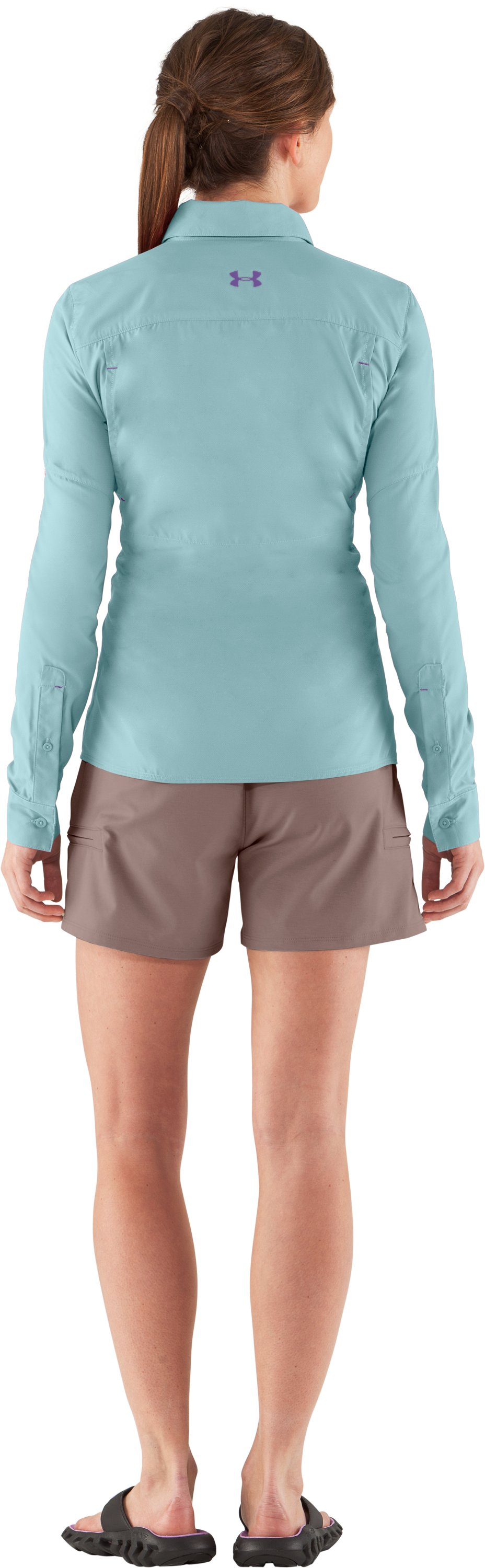 Women's UA Flats Guide Long Sleeve, Seaport, Back