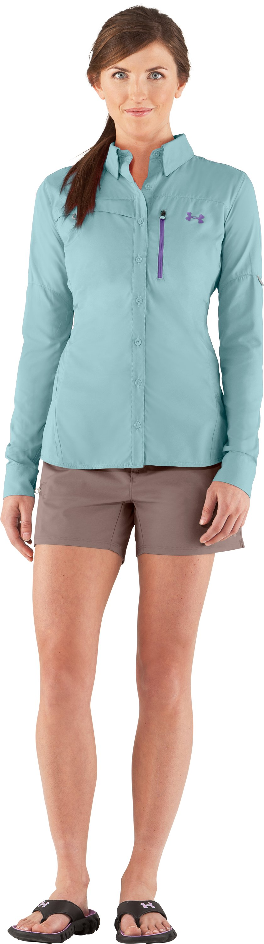 Women's UA Flats Guide Long Sleeve, Seaport, Front