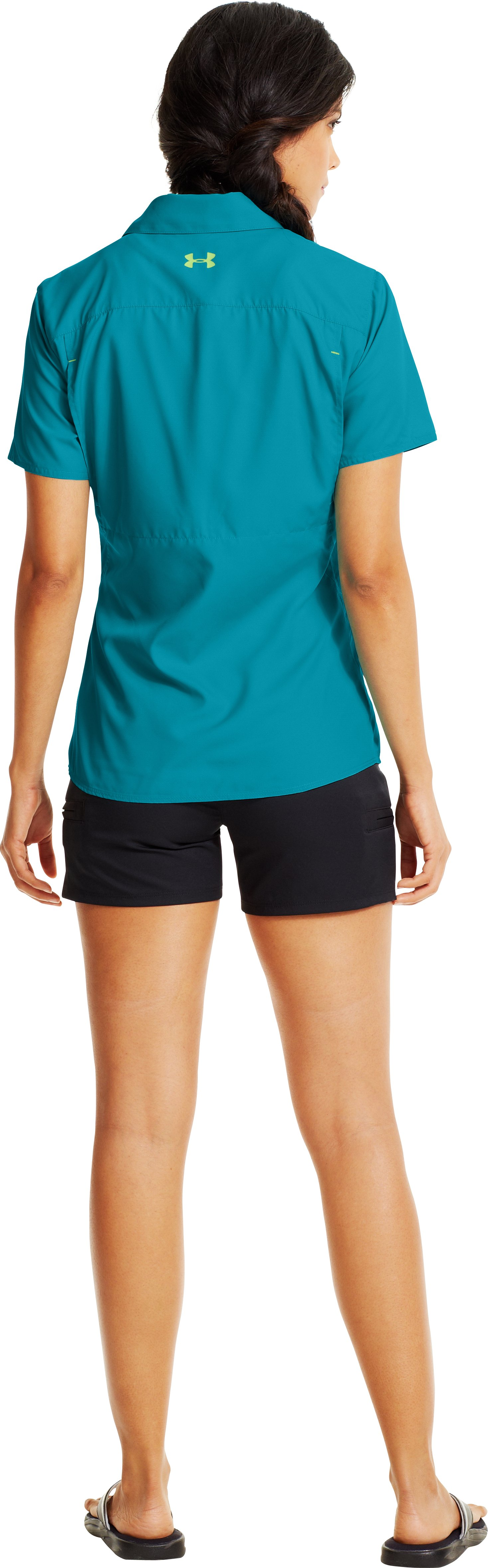 Women's UA Flats Guide Short Sleeve, Pacific, Back