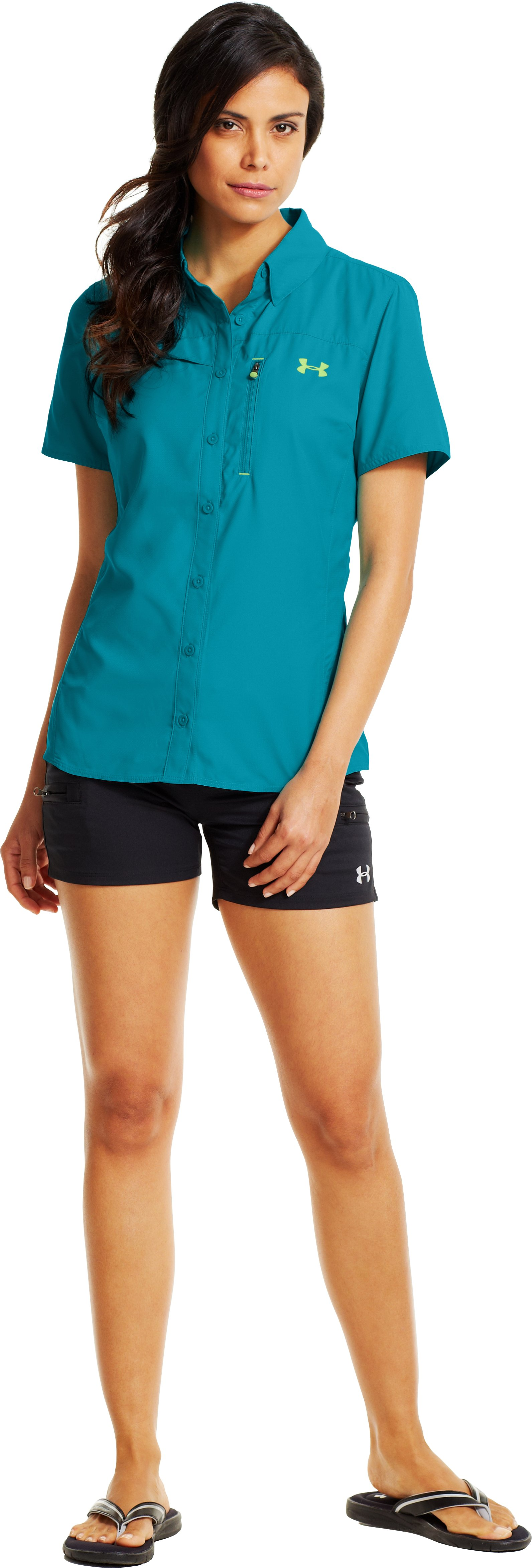 Women's UA Flats Guide Short Sleeve, Pacific, Front