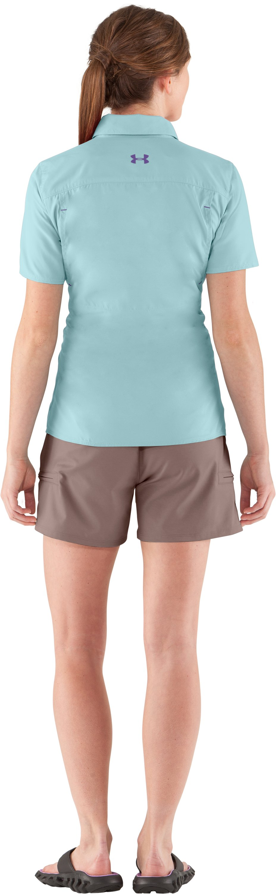 Women's UA Flats Guide Short Sleeve, Seaport, Back