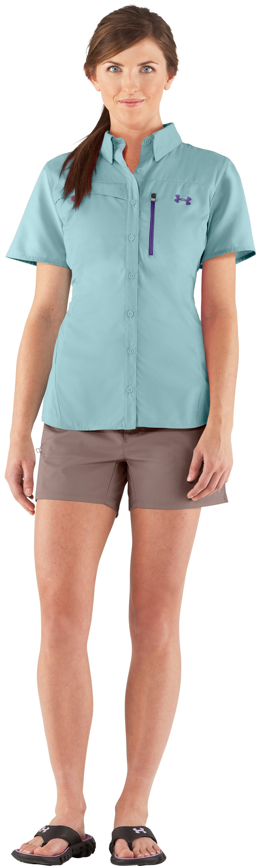 Women's UA Flats Guide Short Sleeve, Seaport, Front