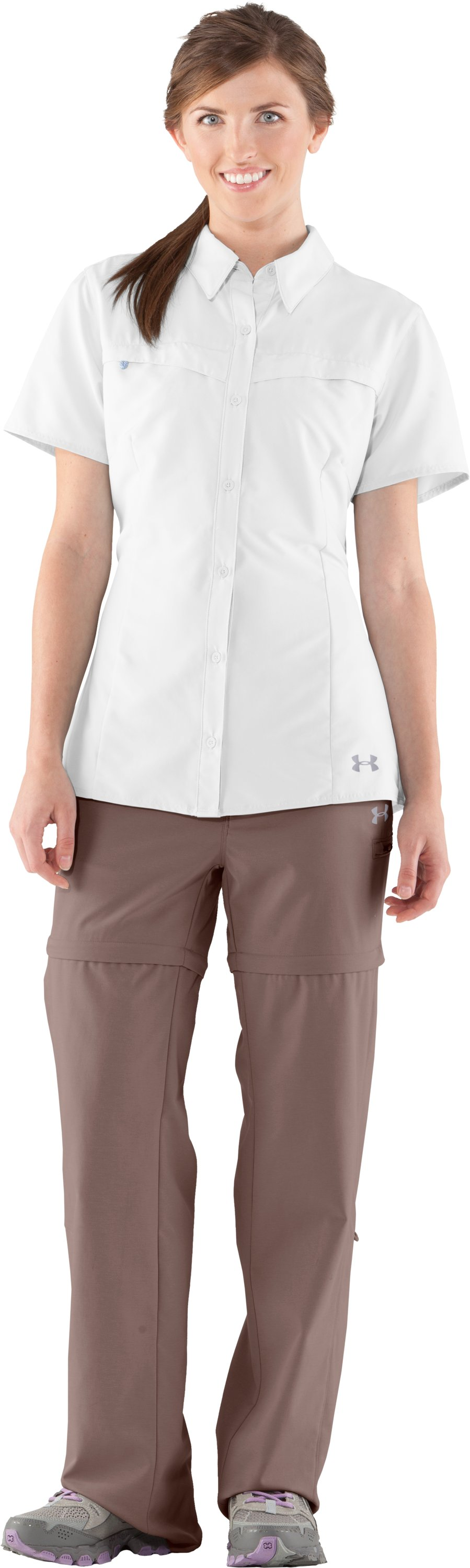 Women's UA Sedna Short Sleeve, White, Front