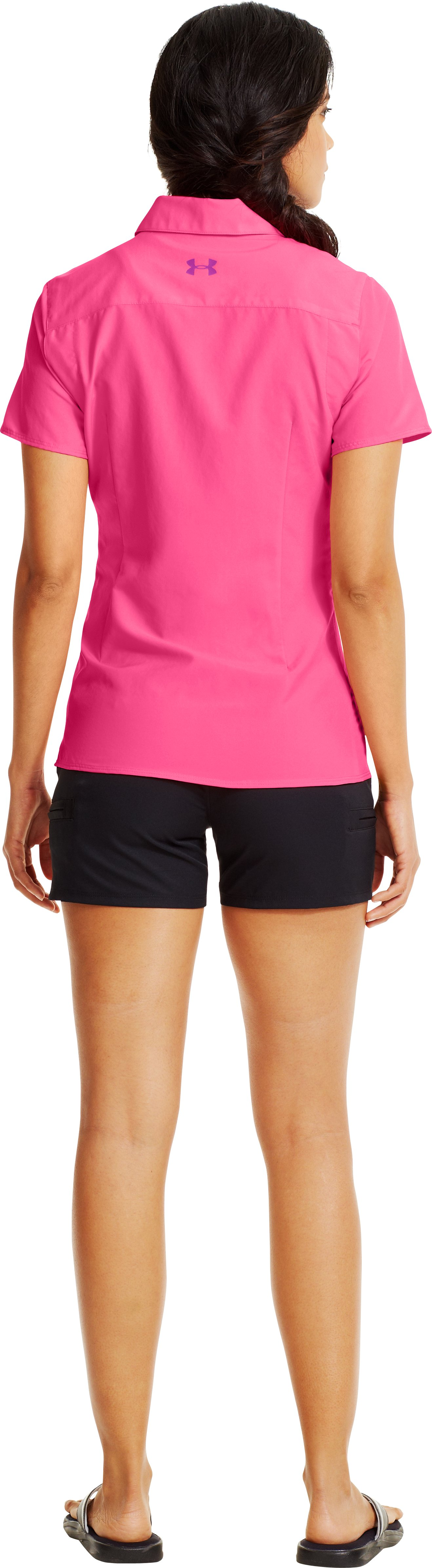 Women's UA Sedna Short Sleeve, Cerise, Back