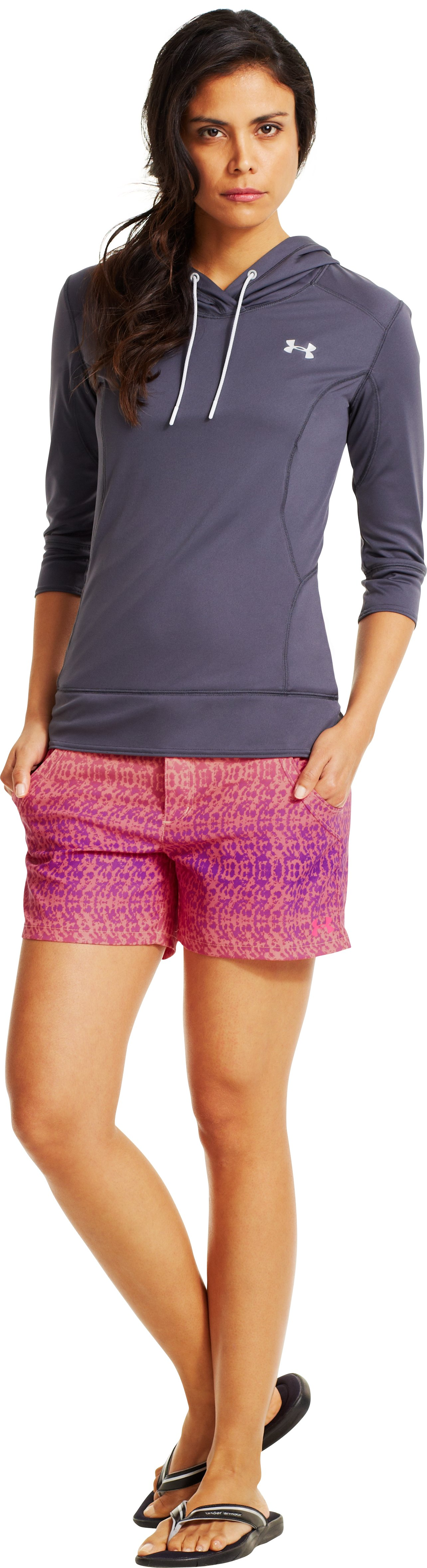 Women's UA Even Keel Board Shorts, Afterglow, Front