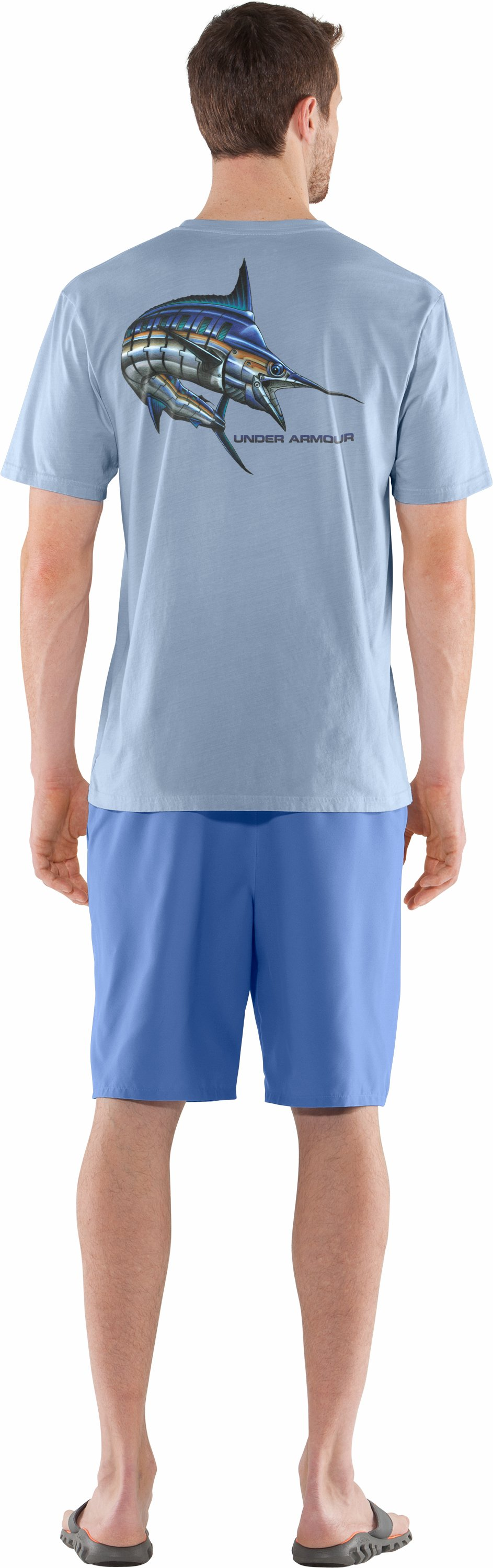 Men's UA Armoured™ Marlin T-Shirt, Cirrus Blue , Back