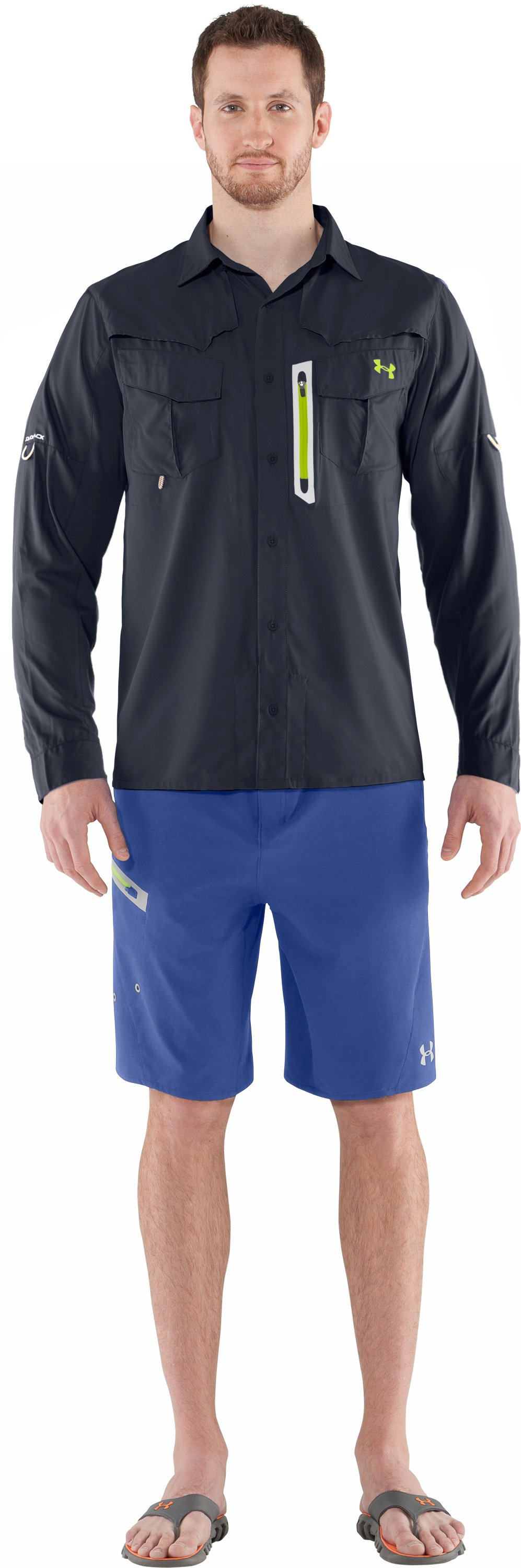 Men's coldblack® Abyss Guide Long Sleeve, DEEPWATER, Front