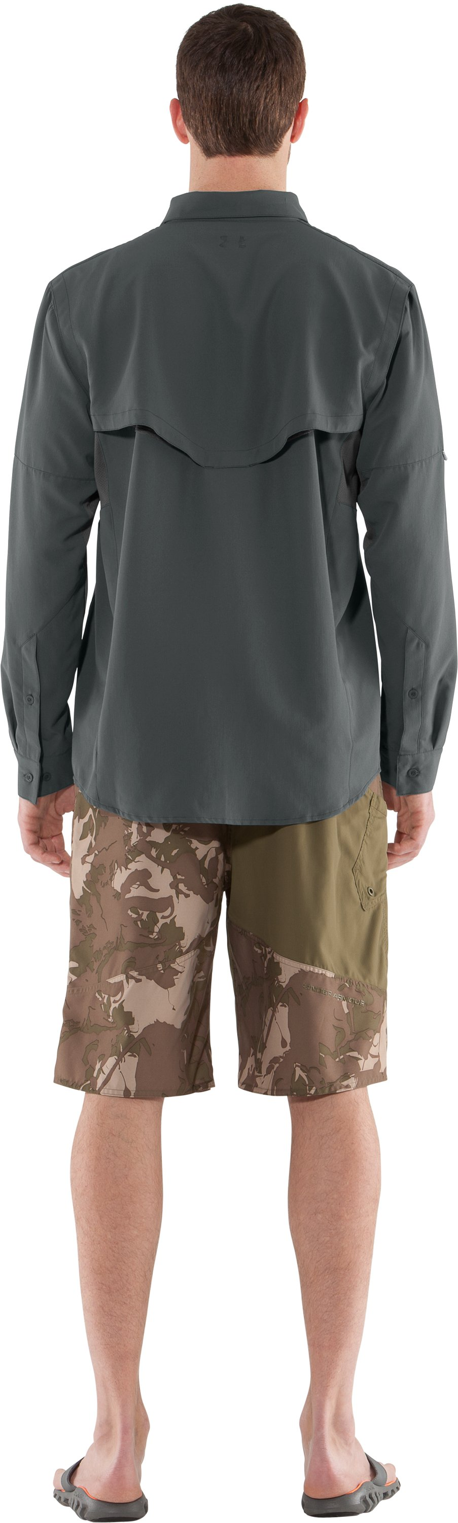 Men's UA Ventilated Woven Long Sleeve, Battleship, Back