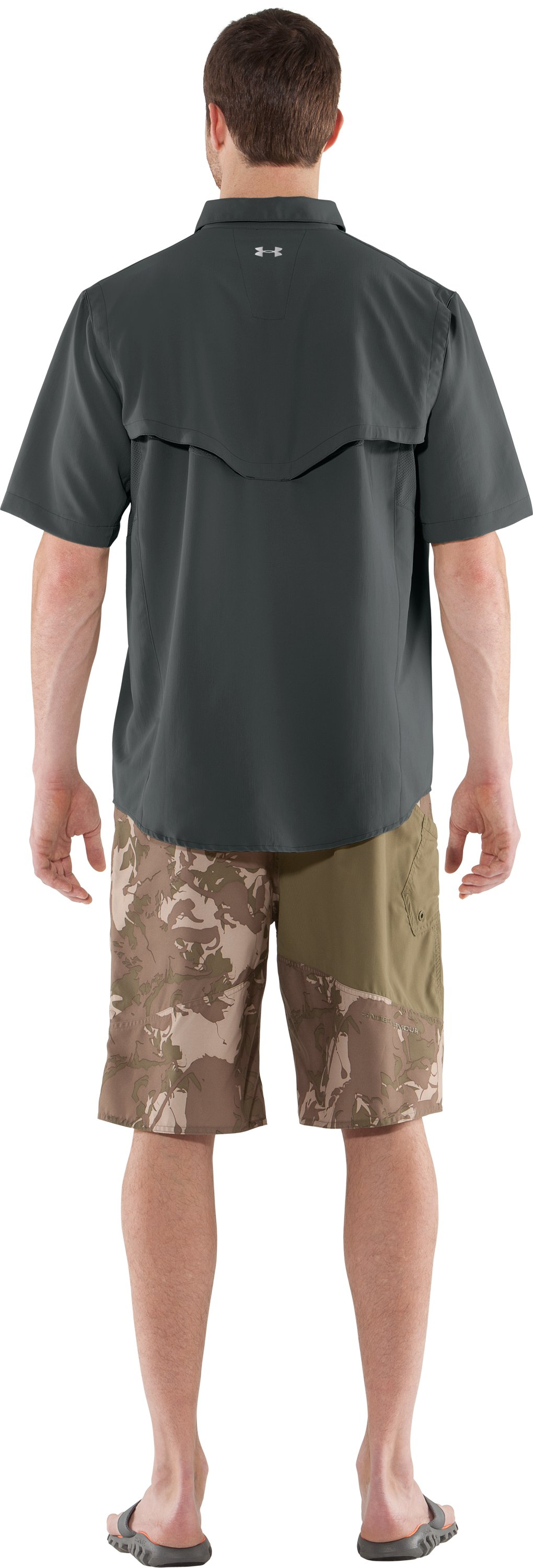 Men's UA Ventilated Woven Short Sleeve, Battleship, Back