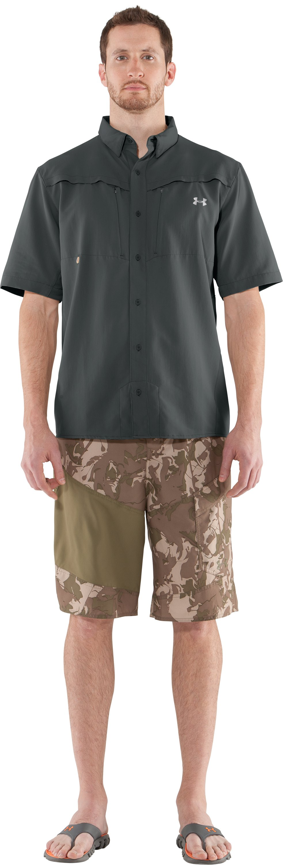 Men's UA Ventilated Woven Short Sleeve, Battleship