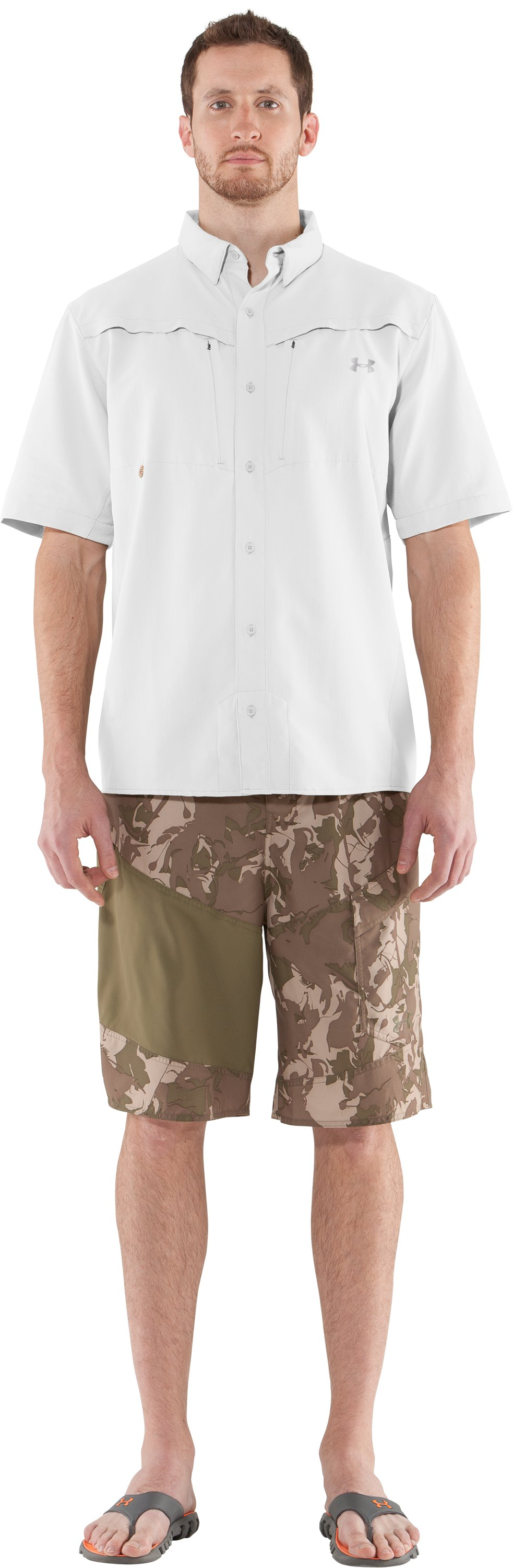 Men's UA Ventilated Woven Short Sleeve, White, zoomed image