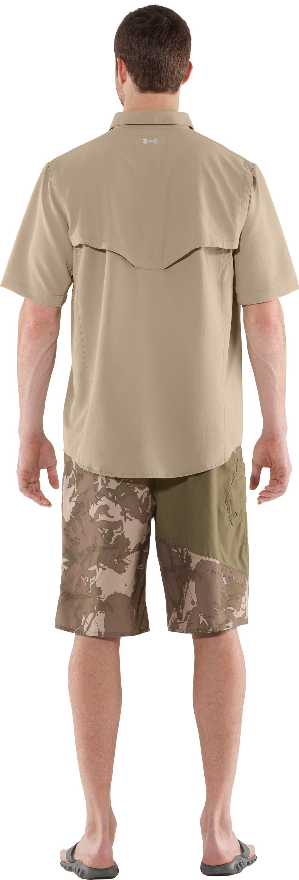 Men's UA Ventilated Woven Short Sleeve, BRANCH, Back