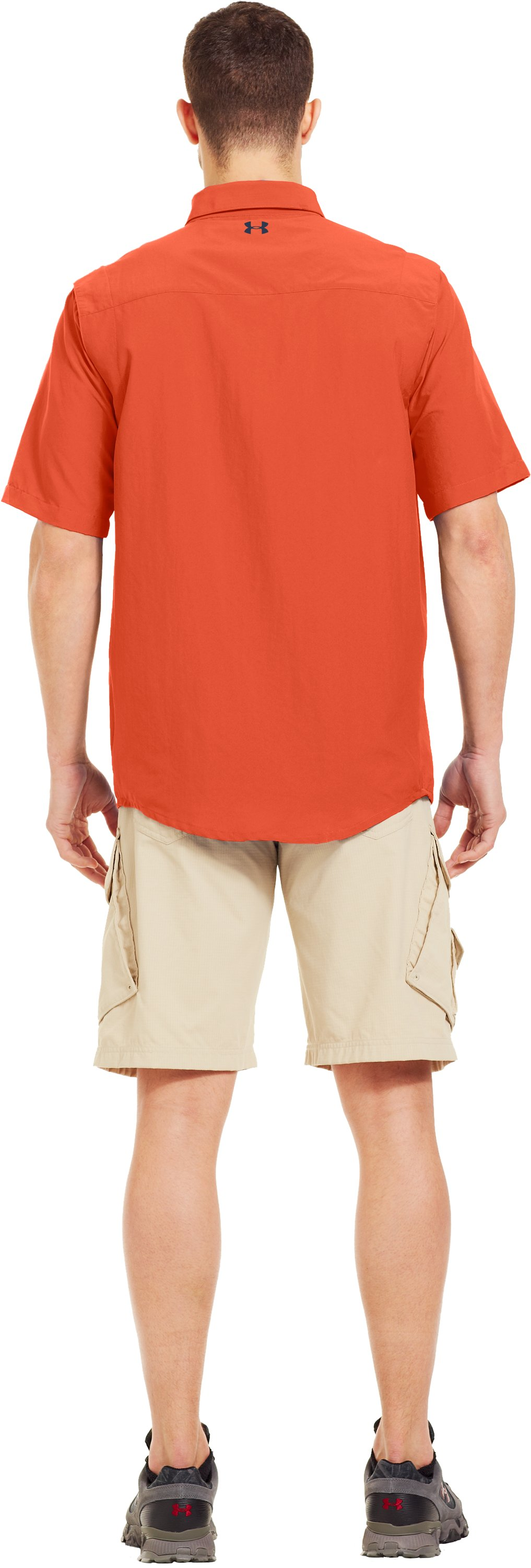 Men's UA Spinner Short Sleeve Shirt, CLOWNFISH, Back