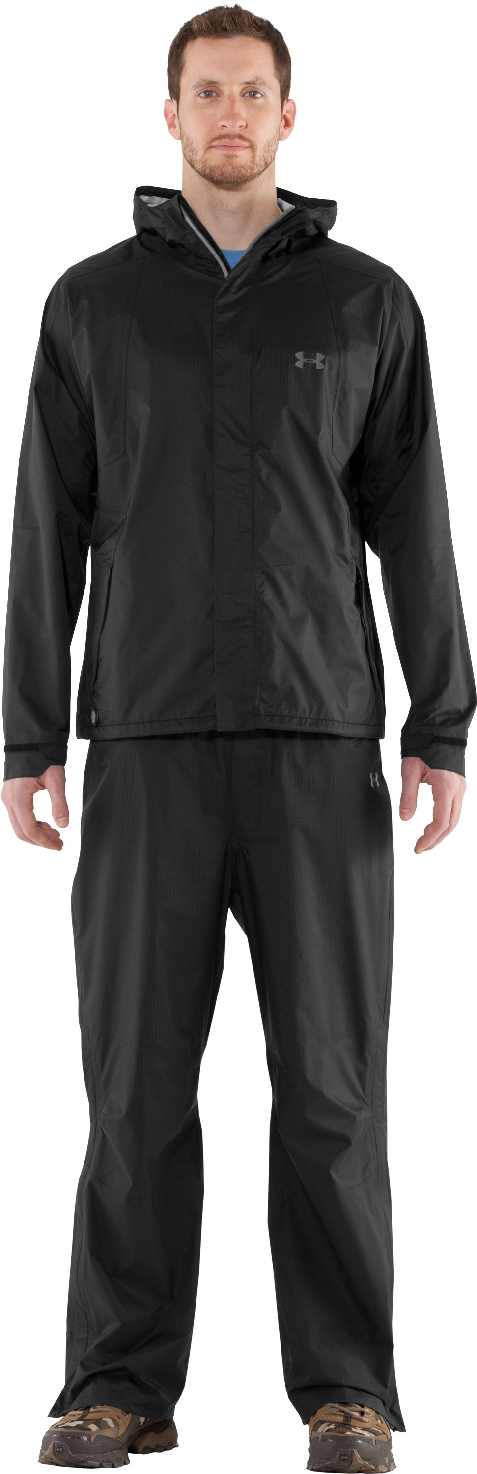 Men's UA StormFront Jacket, Black , Front