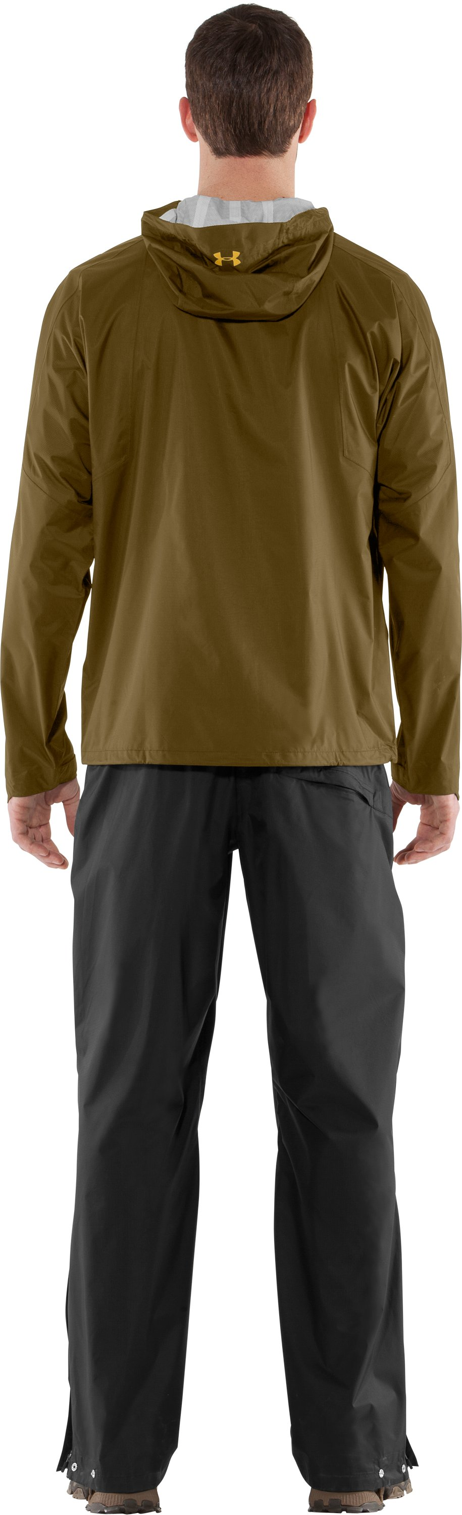 Men's UA StormFront Jacket, Drab, Back