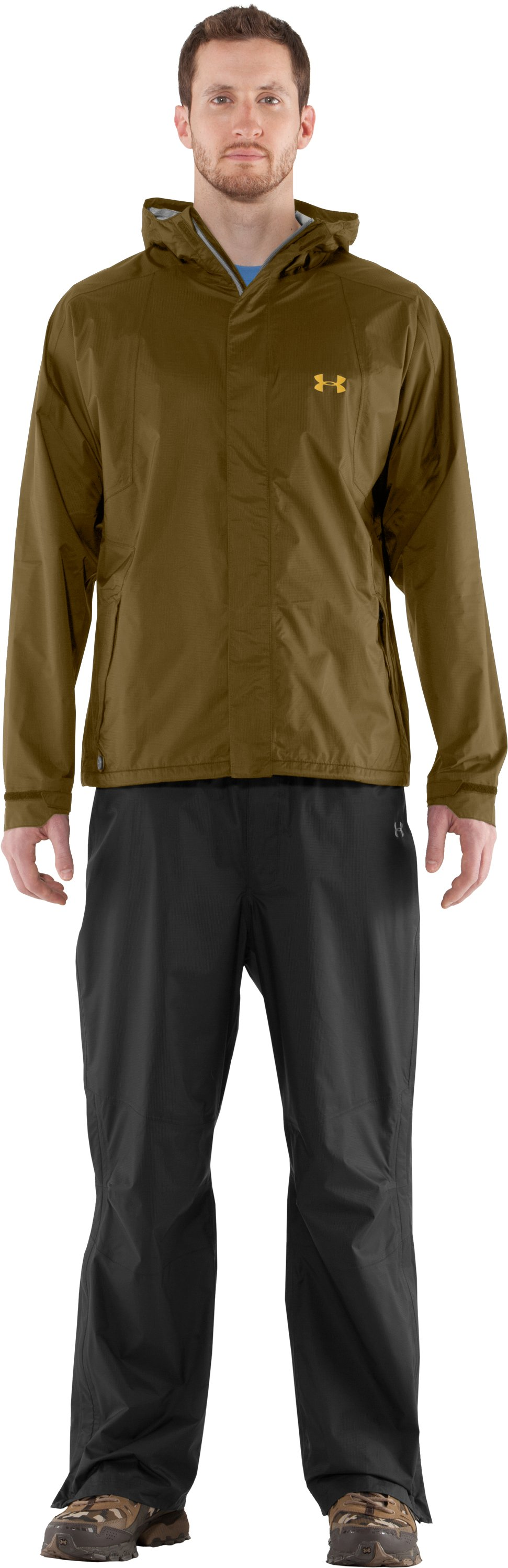 Men's UA StormFront Jacket, Drab, Front