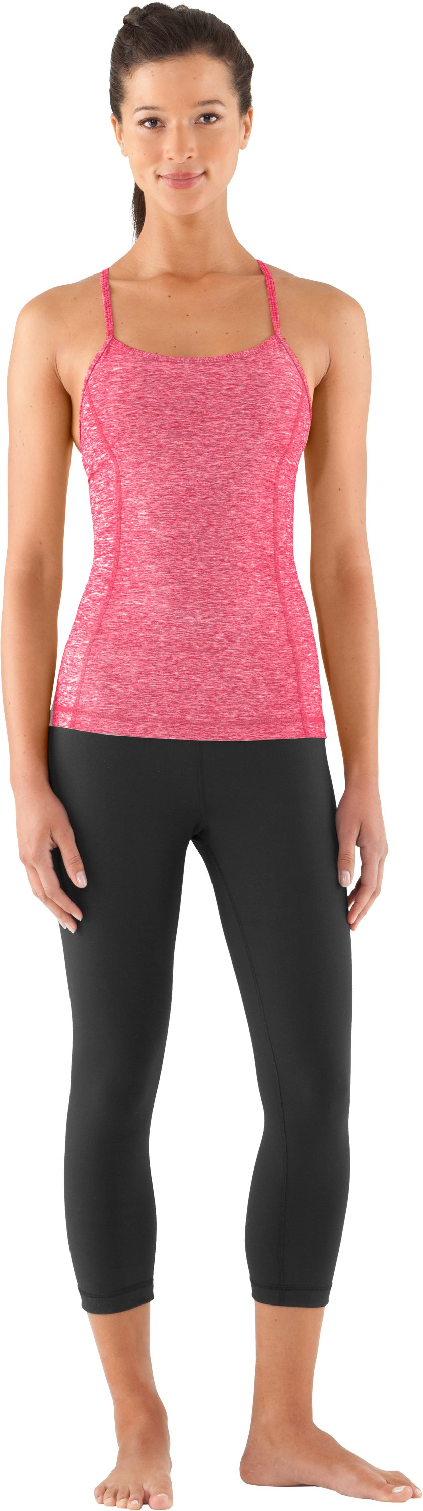 Women's UA Strappylux Tank, Hibiscus, Front