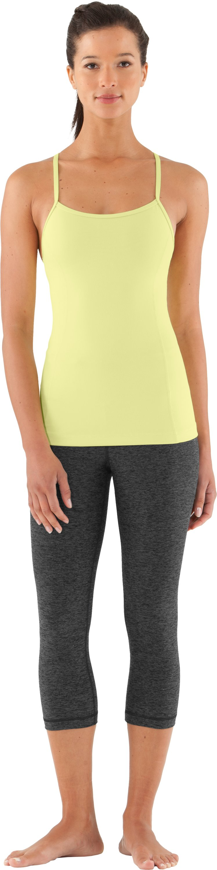 Women's UA Strappylux Tank, SONIC YELLOW, Front