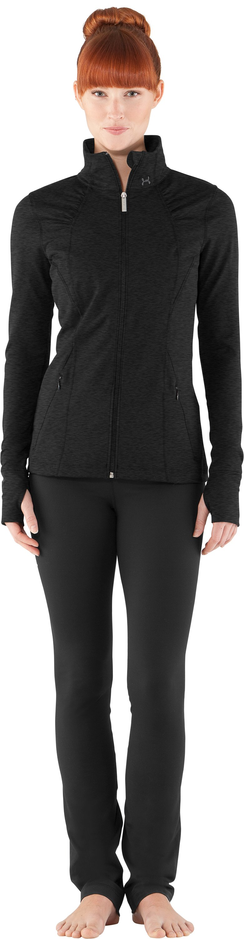 Women's UA StudioLux® Jacket, Asphalt Heather, Front