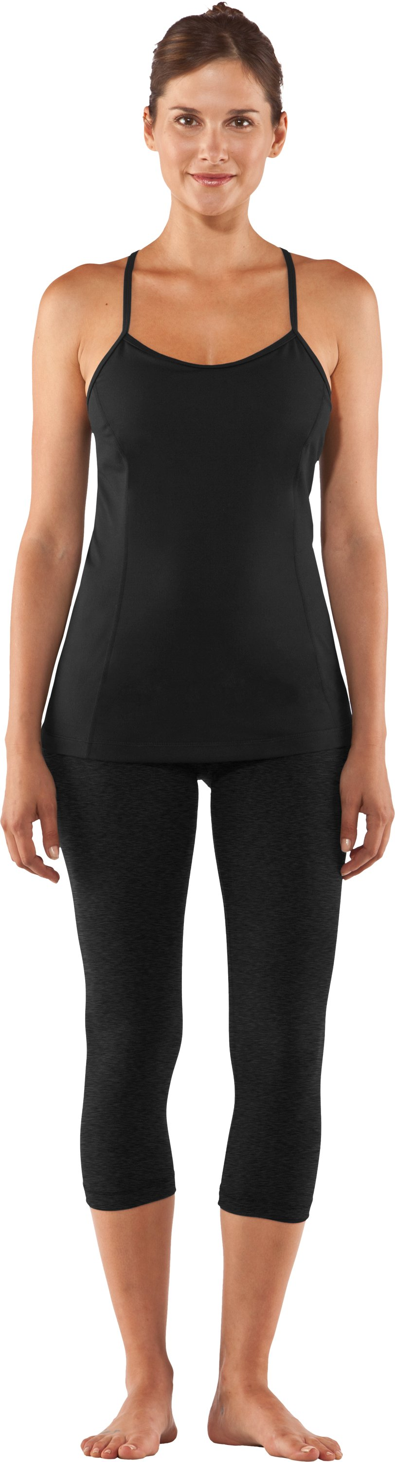 Women's UA StudioLux® Tight Capri, Asphalt Heather, Front