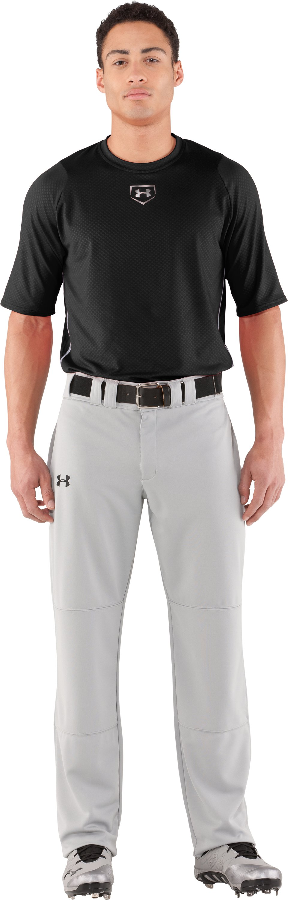 Men's UA Diamond Armour™ Baseball Short Sleeve Baselayer, Black , Front