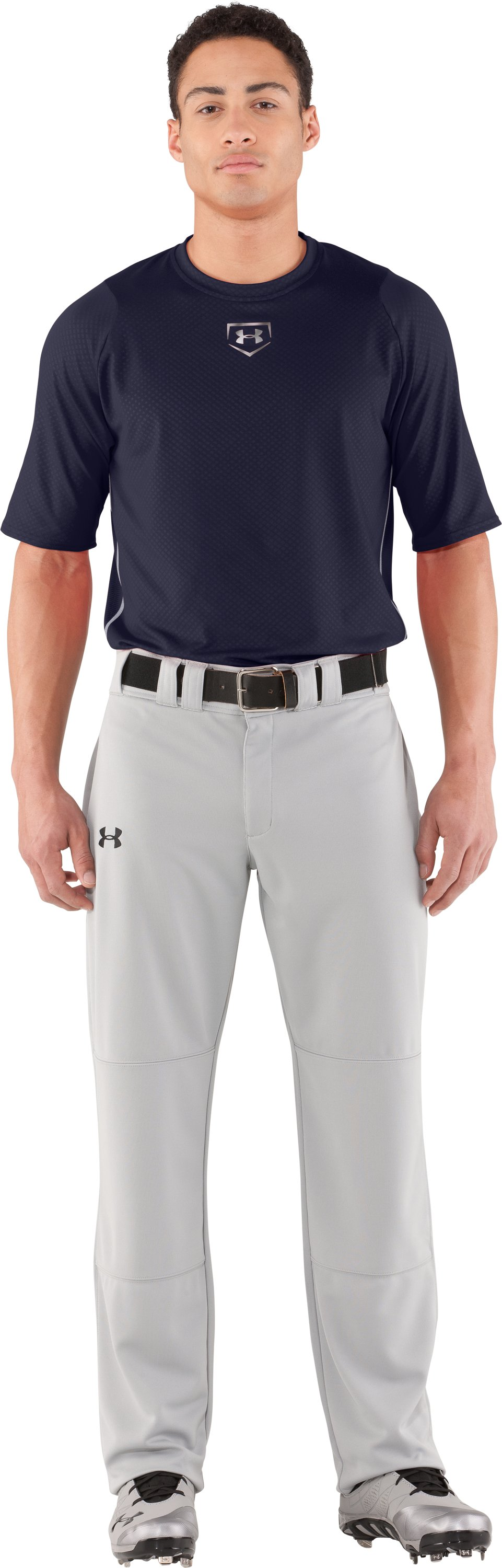 Men's UA Diamond Armour™ Baseball Short Sleeve Baselayer, Midnight Navy, Front
