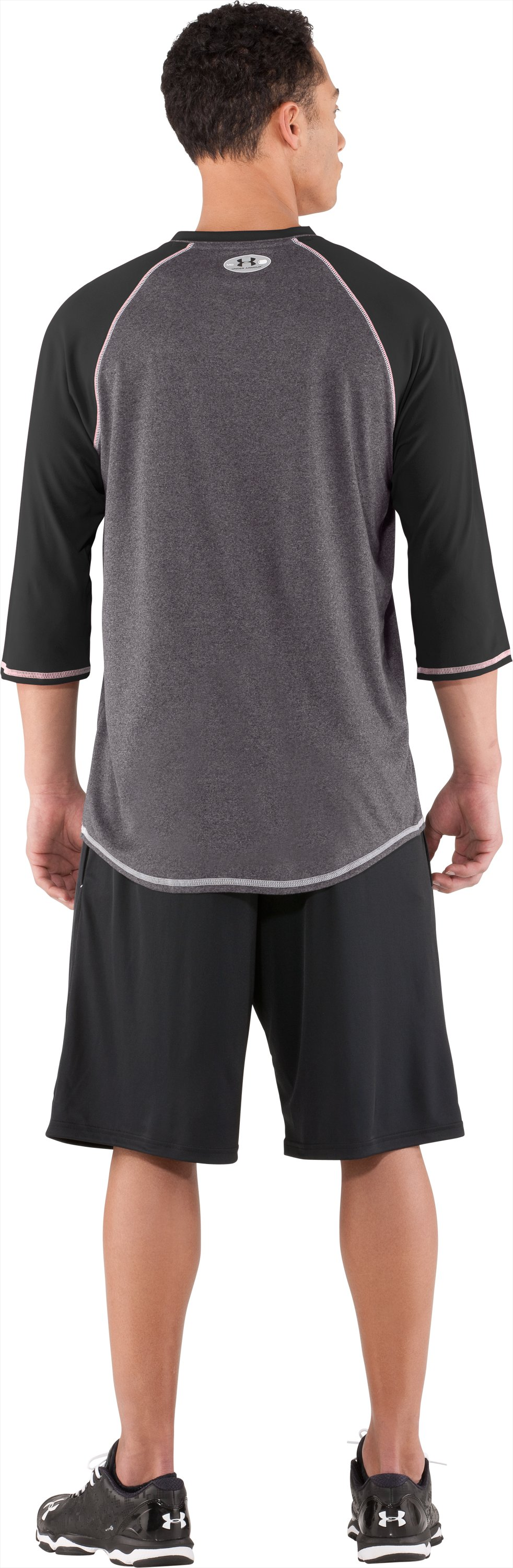 Men's UA Baseball ¾ Sleeve Shirt, Black , Back