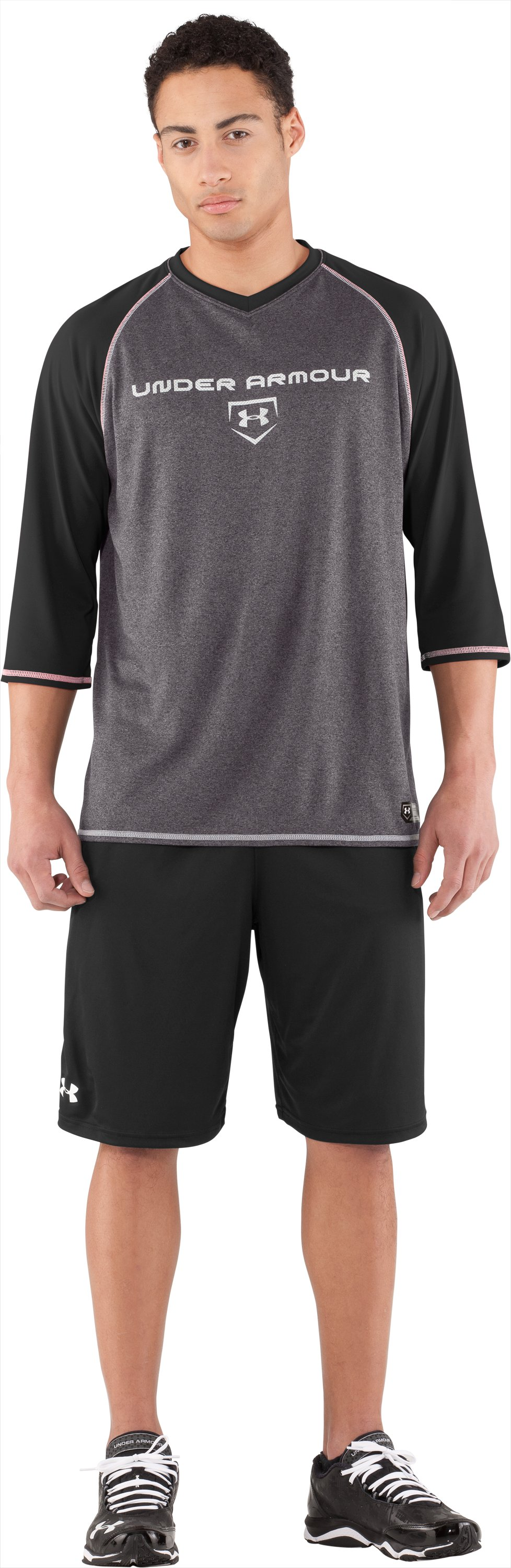 Men's UA Baseball ¾ Sleeve Shirt, Black , Front