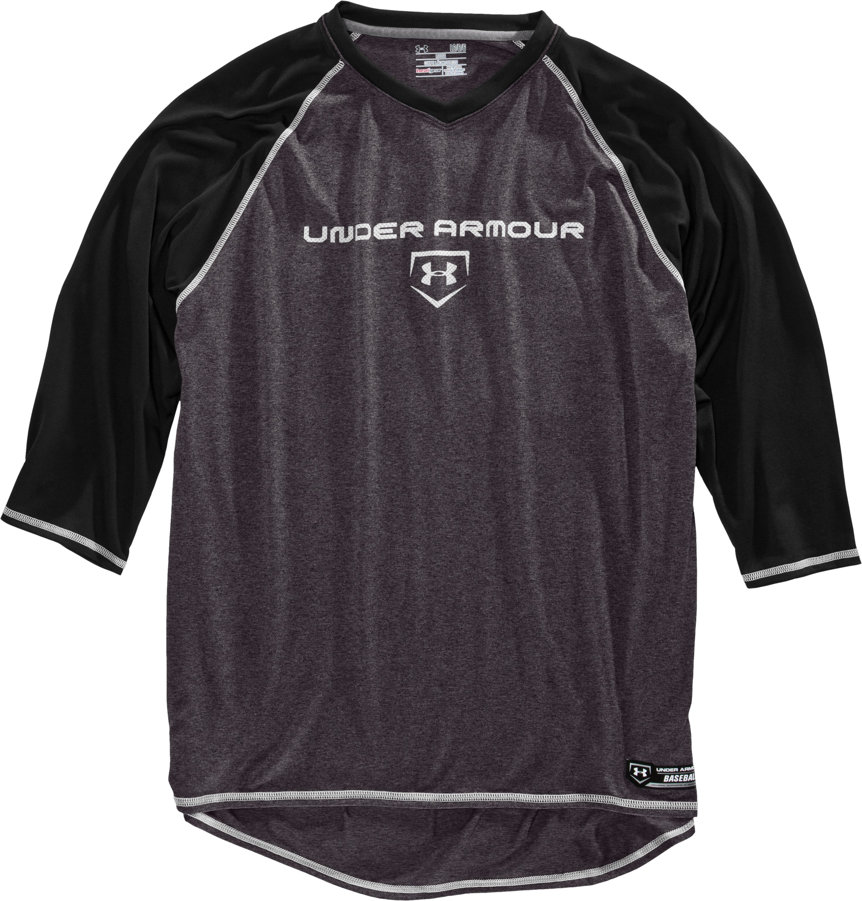 Men's UA Baseball ¾ Sleeve Shirt, Black , Laydown