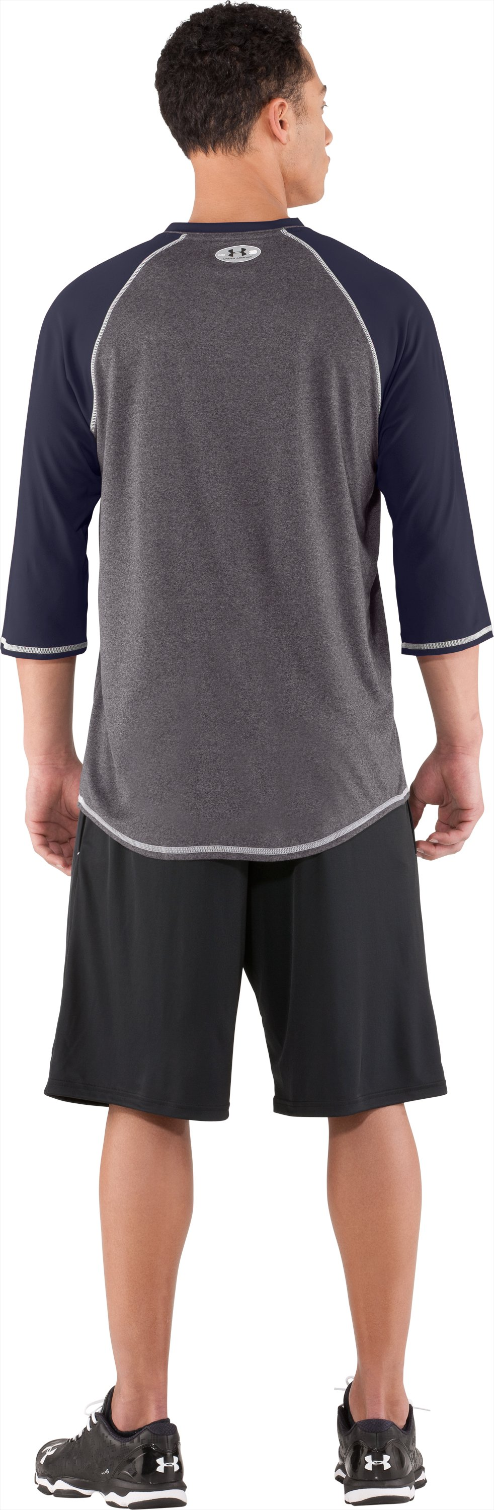 Men's UA Baseball ¾ Sleeve Shirt, Midnight Navy, Back