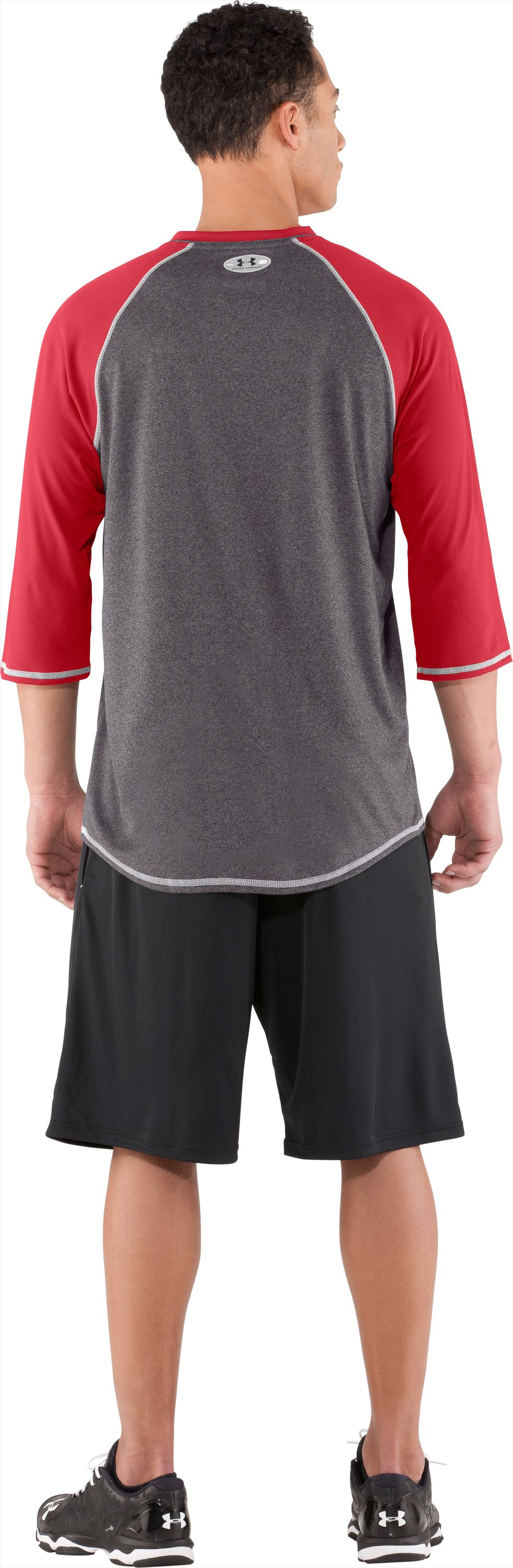 Men's UA Baseball ¾ Sleeve Shirt, Red, Back