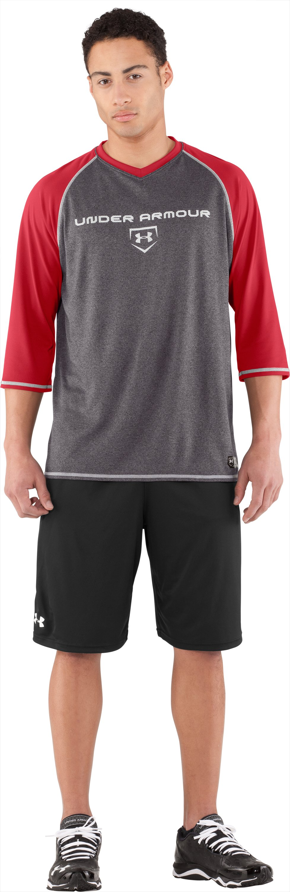 Men's UA Baseball ¾ Sleeve Shirt, Red, Front