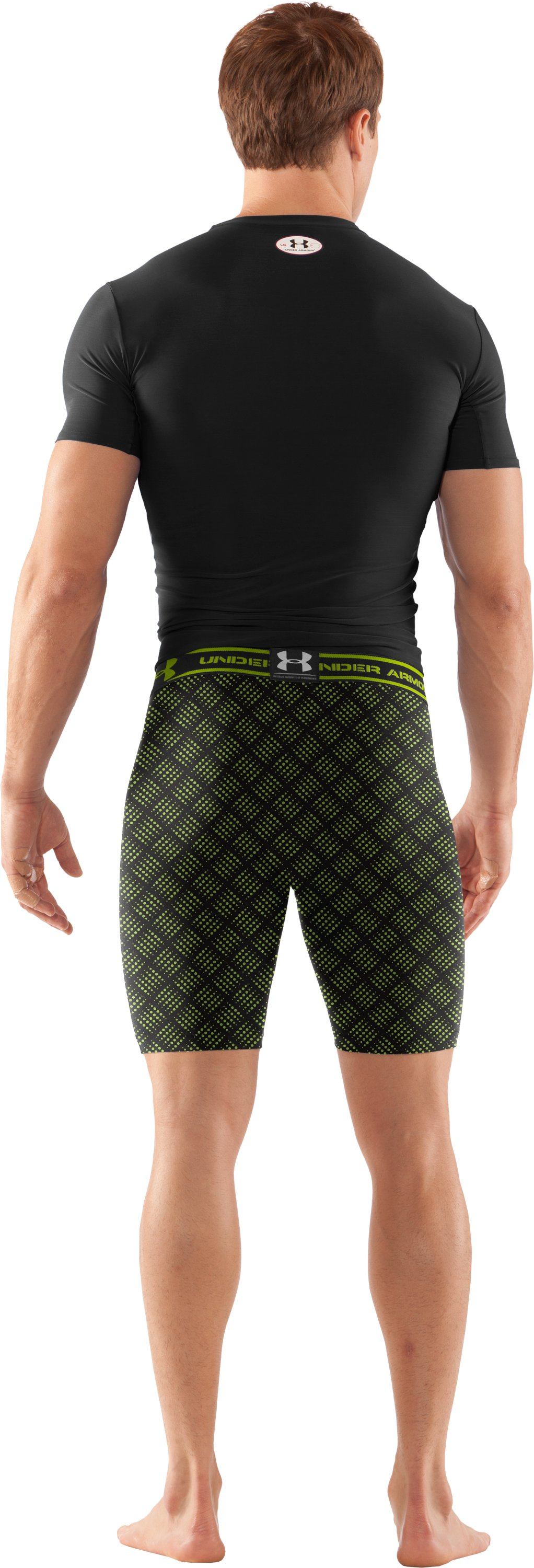 "Men's HeatGear® Compression Printed 7"" Shorts, Black , Back"