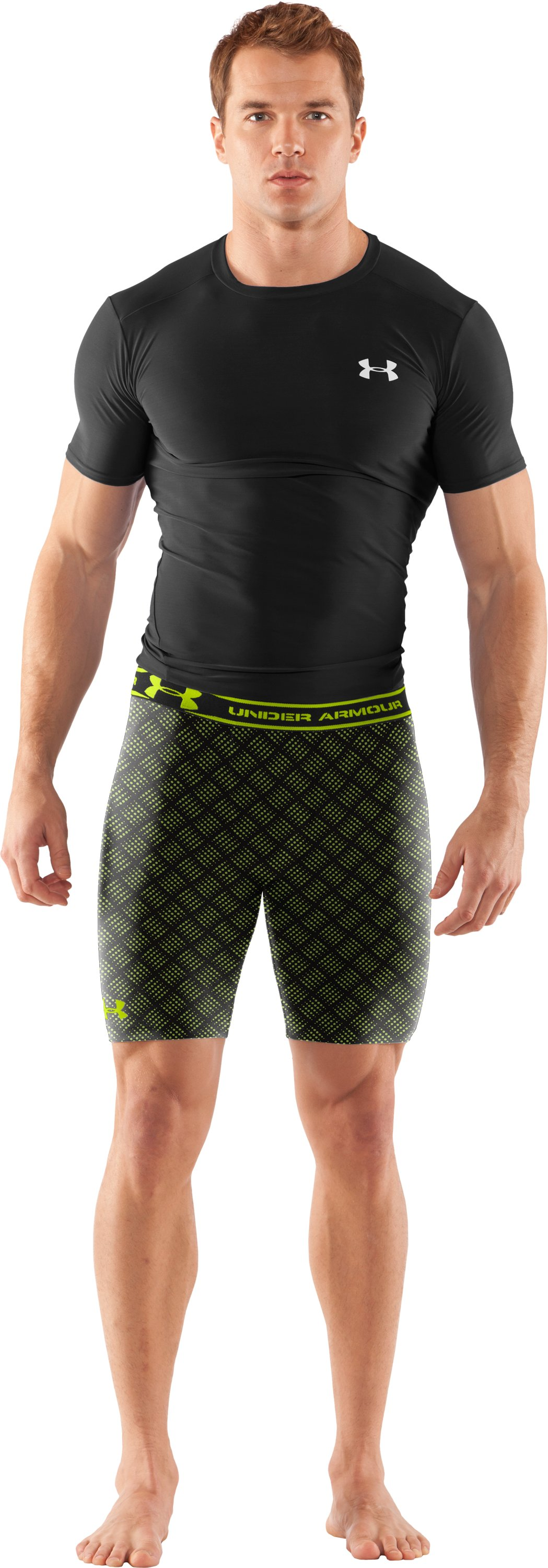 "Men's HeatGear® Compression Printed 7"" Shorts, Black , Front"