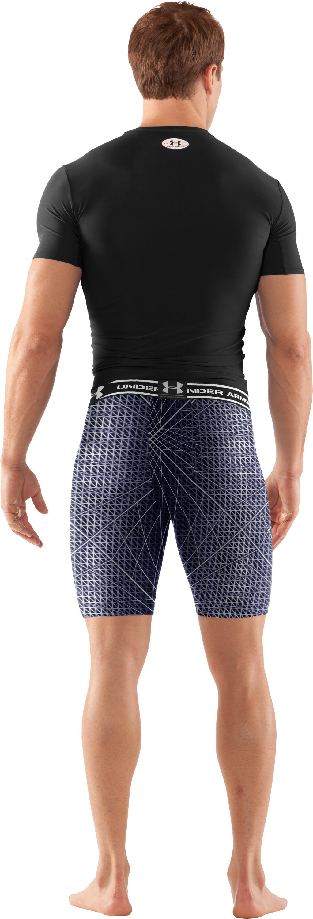 "Men's HeatGear® Compression Printed 7"" Shorts, Midnight Navy, Back"