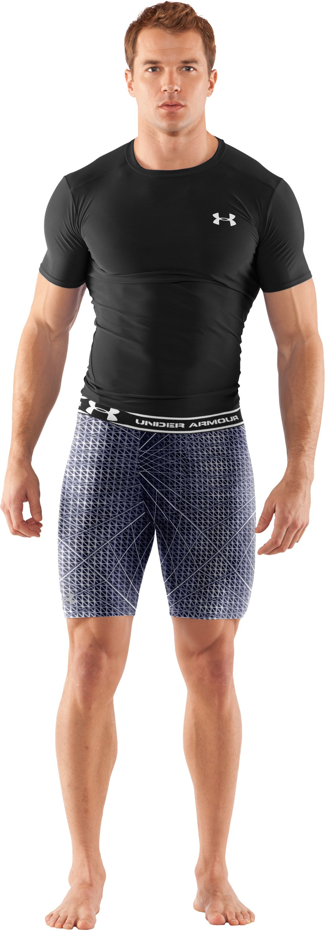 "Men's HeatGear® Compression Printed 7"" Shorts, Midnight Navy, Front"