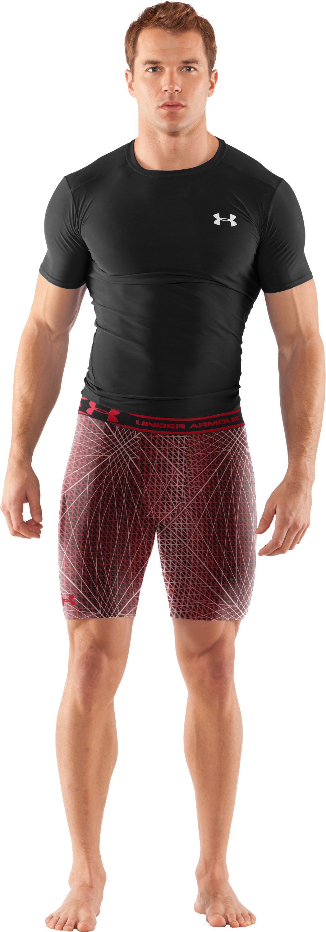 "Men's HeatGear® Compression Printed 7"" Shorts, Red, Front"