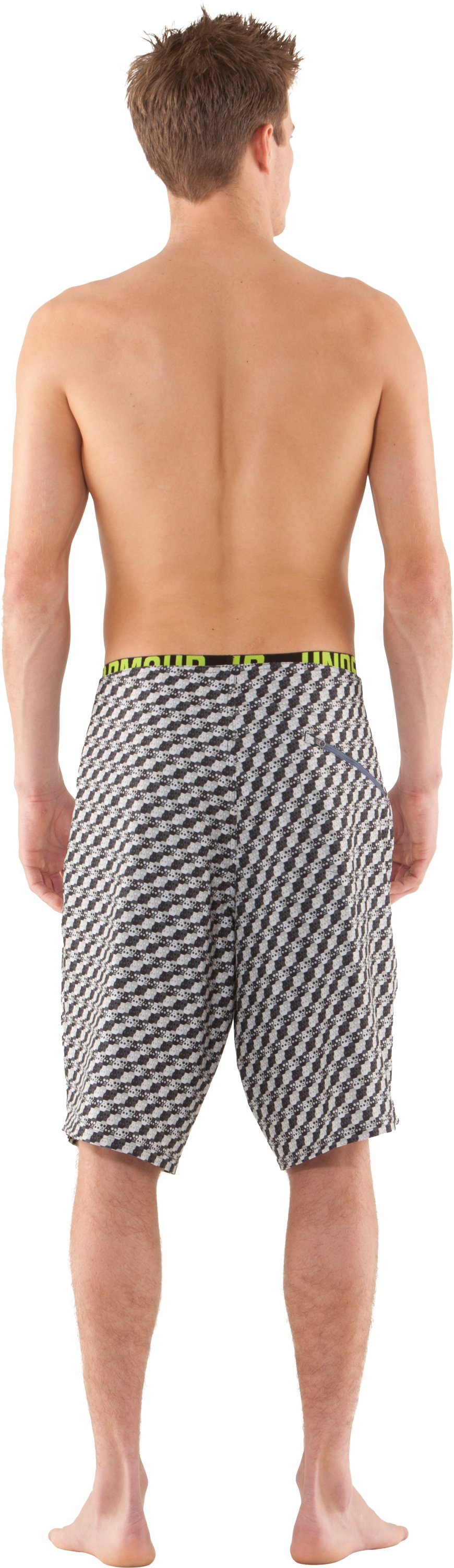 Men's UA Psysquatch Board Shorts, Aluminum, Back