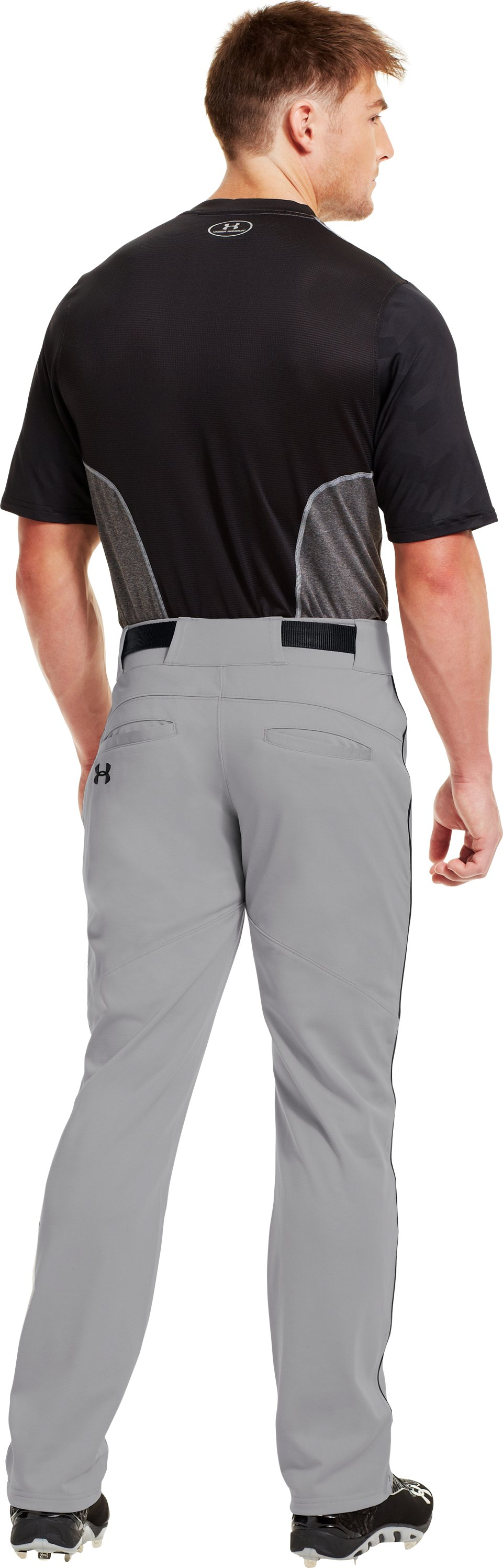 Men's UA Leadoff Piped Baseball Pants, Baseball Gray, Back
