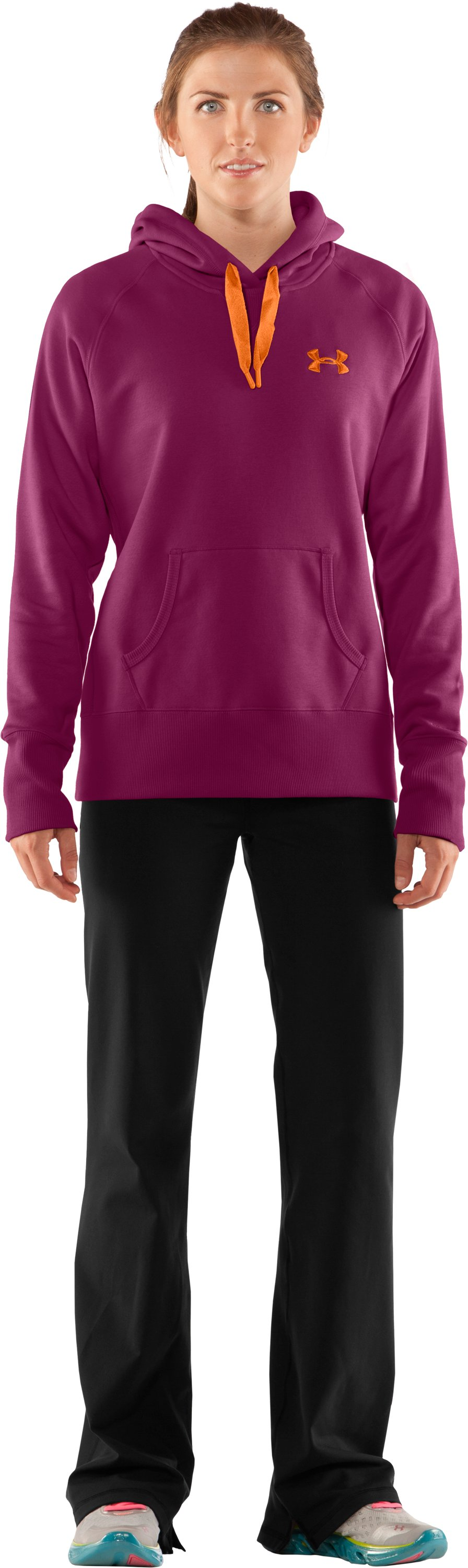 Women's Charged Cotton® Storm Hoodie, Rosewood, Front