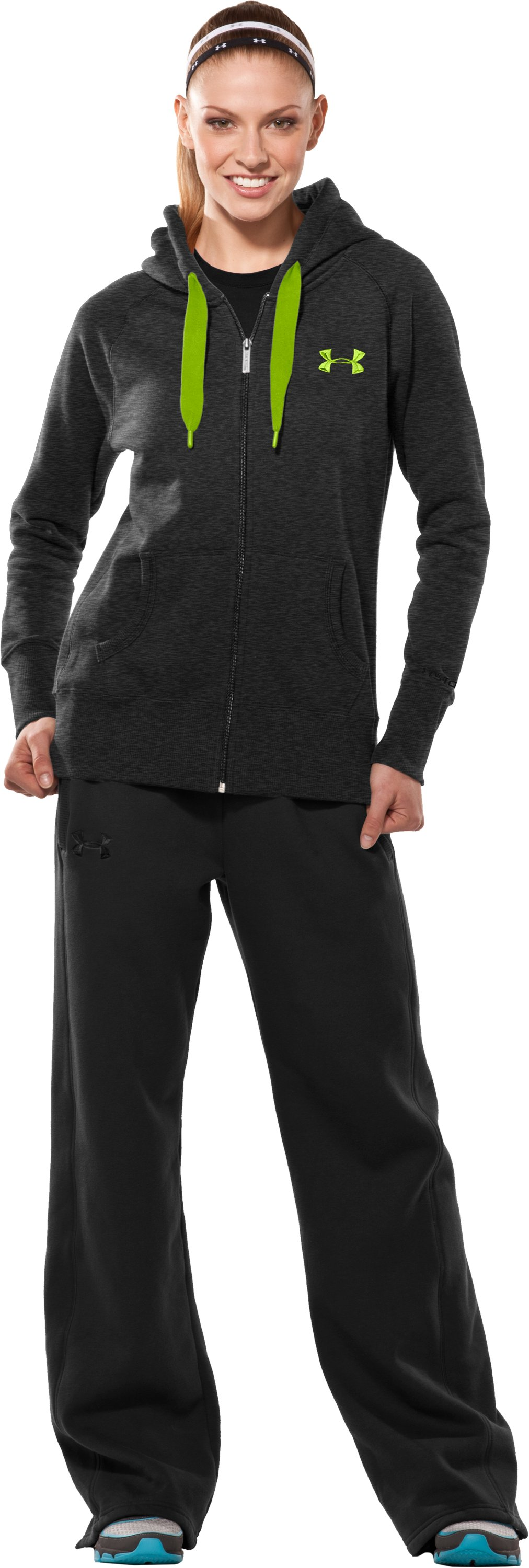 Women's Charged Cotton® Storm Full Zip Hoodie, Asphalt Heather, Front