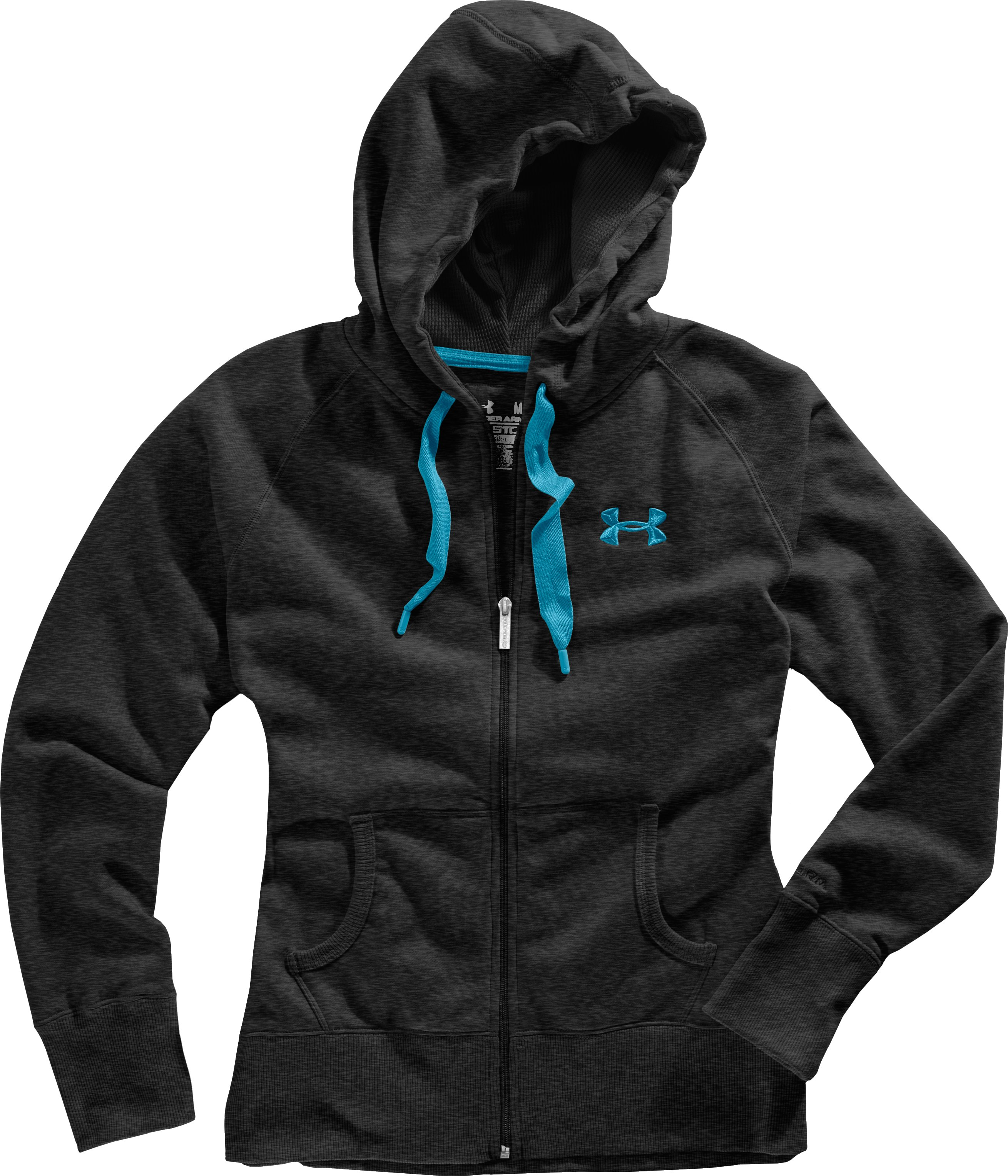Women's Charged Cotton® Storm Full Zip Hoodie, Asphalt Heather, Laydown