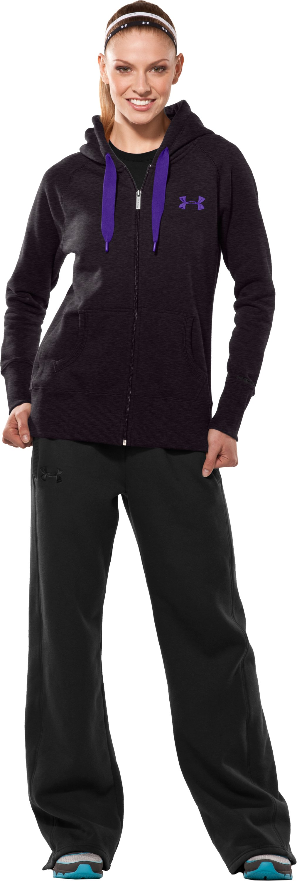 Women's Charged Cotton® Storm Full Zip Hoodie, Carbon Heather, Front