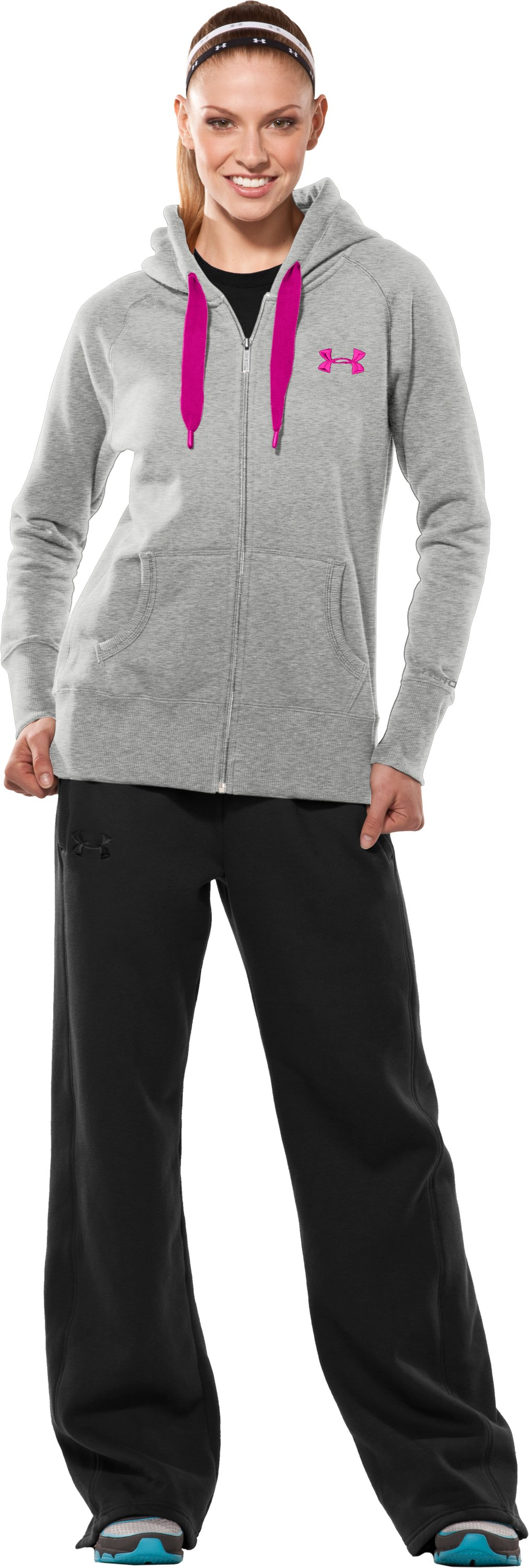Women's Charged Cotton® Storm Full Zip Hoodie, Silver Heather, Front