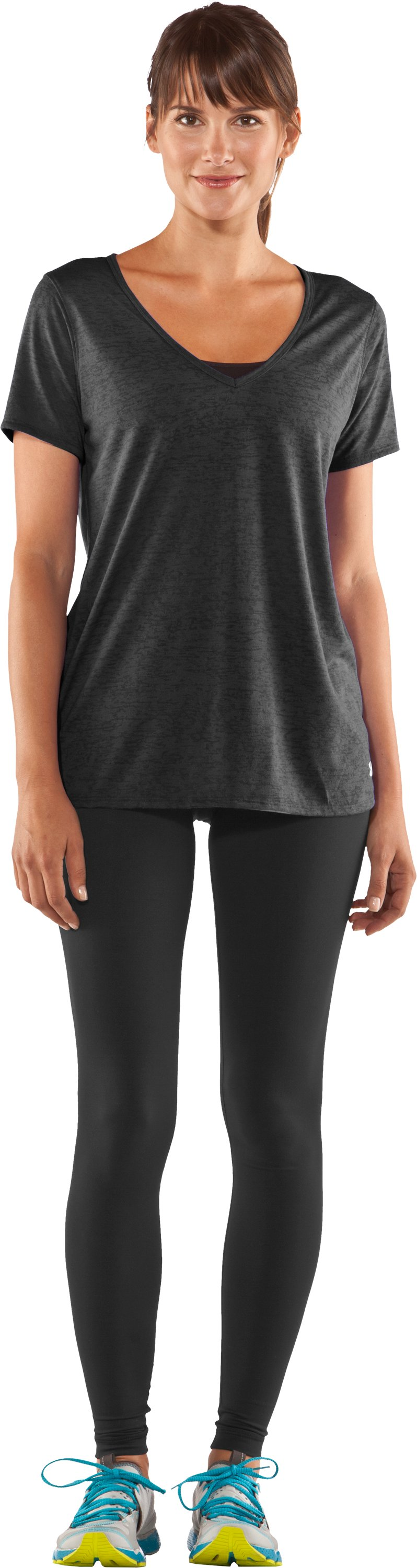Women's Achieve Burnout T-Shirt, Black , Front