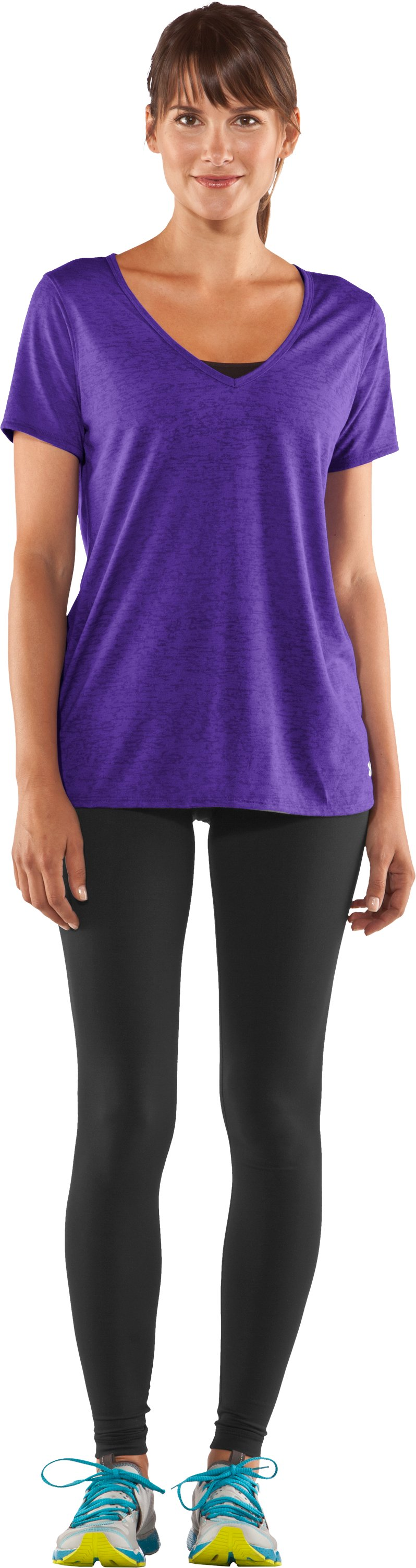 Women's Achieve Burnout T-Shirt, Pluto, Front