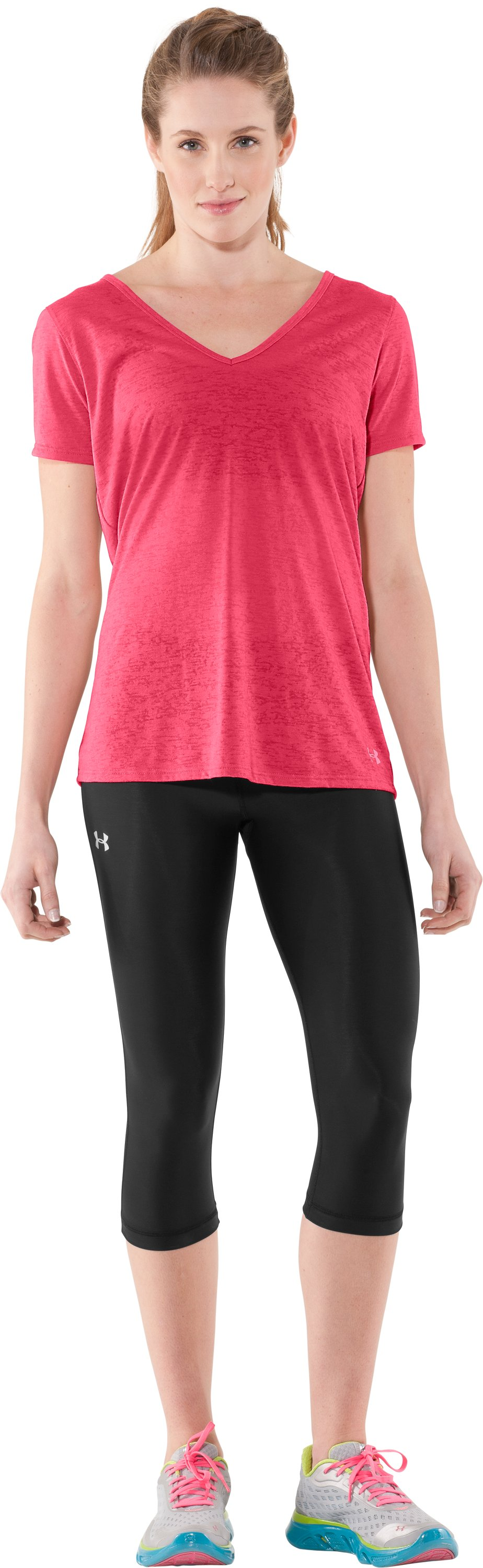 Women's Achieve Burnout T-Shirt, Hibiscus, zoomed image