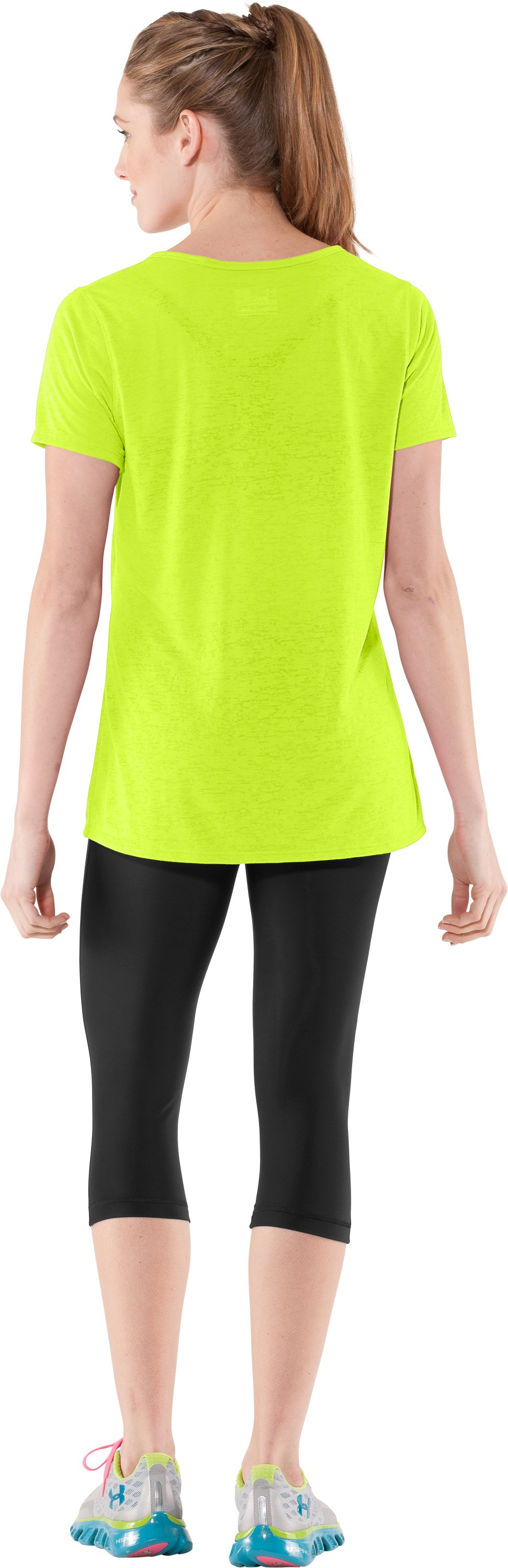Women's Achieve Burnout T-Shirt, High-Vis Yellow, Back